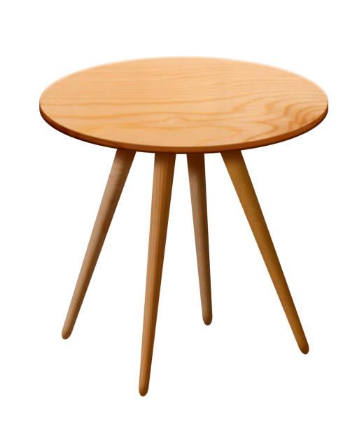 wooden round table - mesa mobília imagens e fotografias de stock