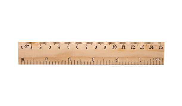 wooden ruler including clipping path - ruler stock photos and pictures