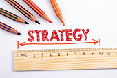 istock STRATEGY. Wooden ruler on a white background 1271731606