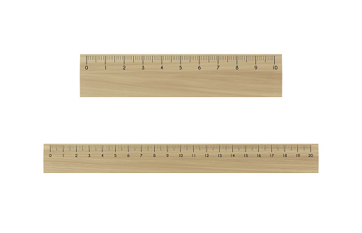 3D Wooden Ruler On White Background