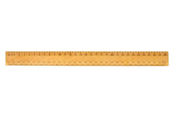 Wooden ruler on white stock photo