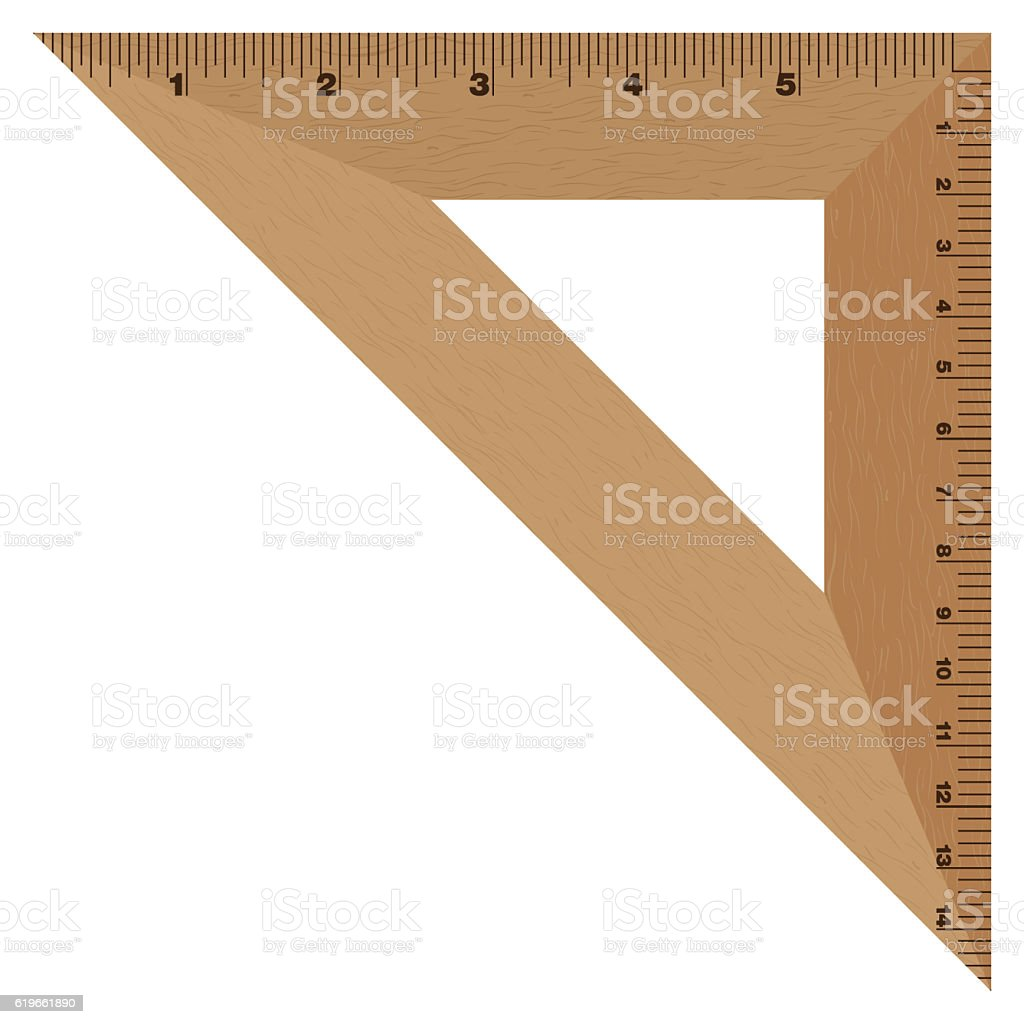 Wooden Ruler Triangle. Instrument of Measurement. stock photo