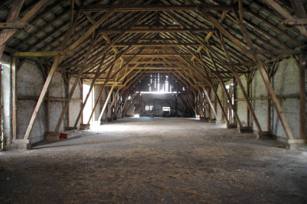 Wooden rural barn with big supports Empty rural barn with wooden supports and remains of hay on the floor barn stock pictures, royalty-free photos & images