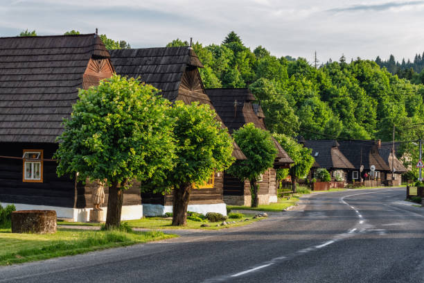 Wooden rural cottages in village Podbiel, Slovakia stock photo