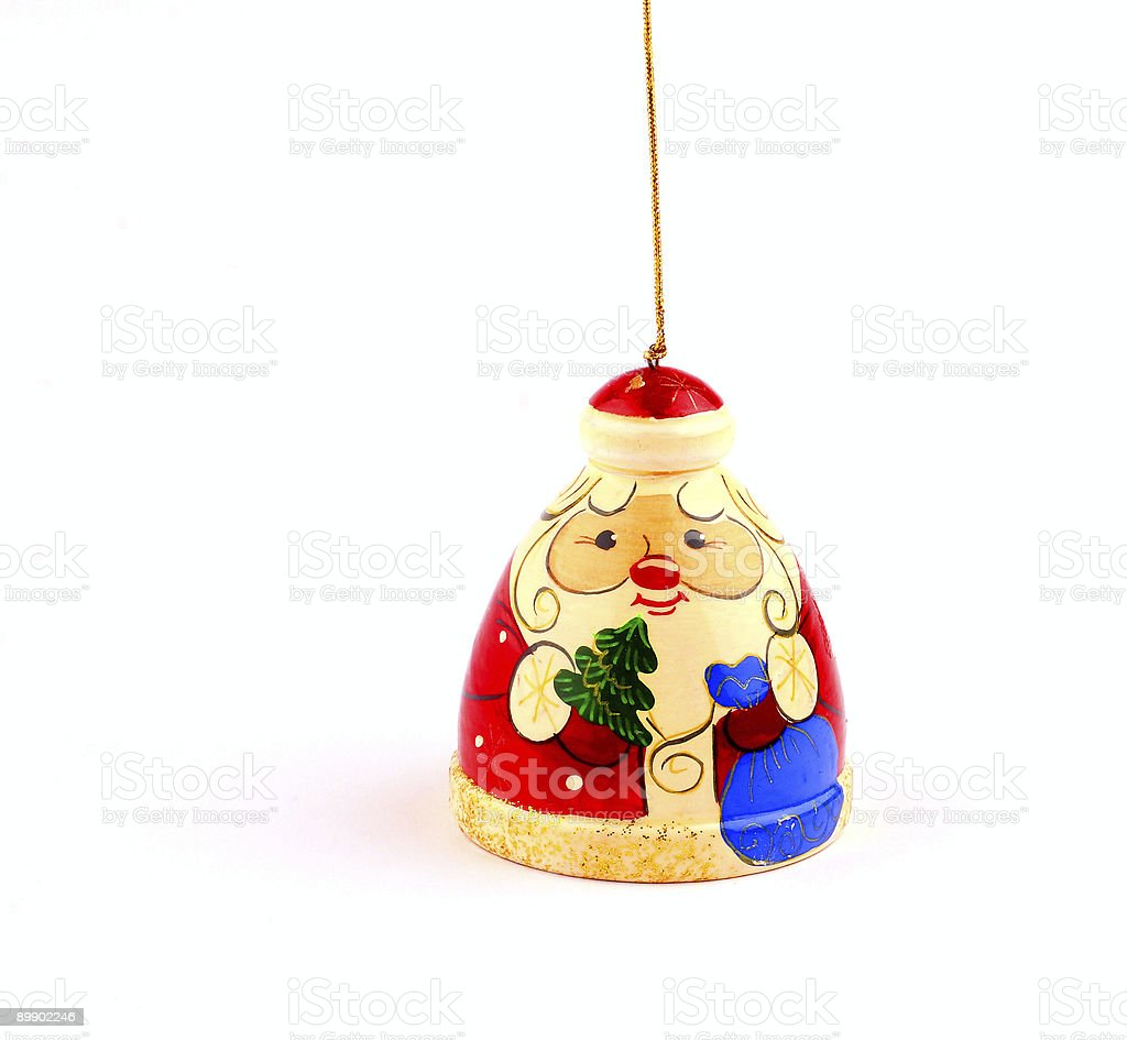 wooden russian santa claus attached to string royalty free stockfoto