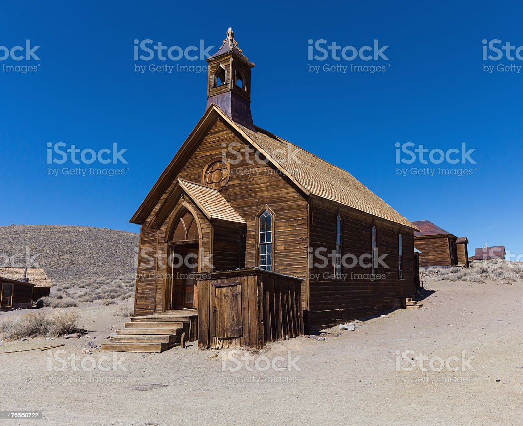 Wooden rustic church building in Bodie ghost town stock photo