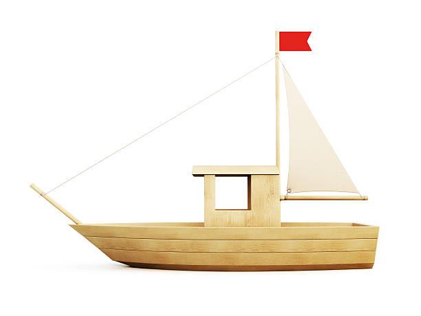 holz segelboot der seite. 3 d. - holzspielwaren stock-fotos und bilder