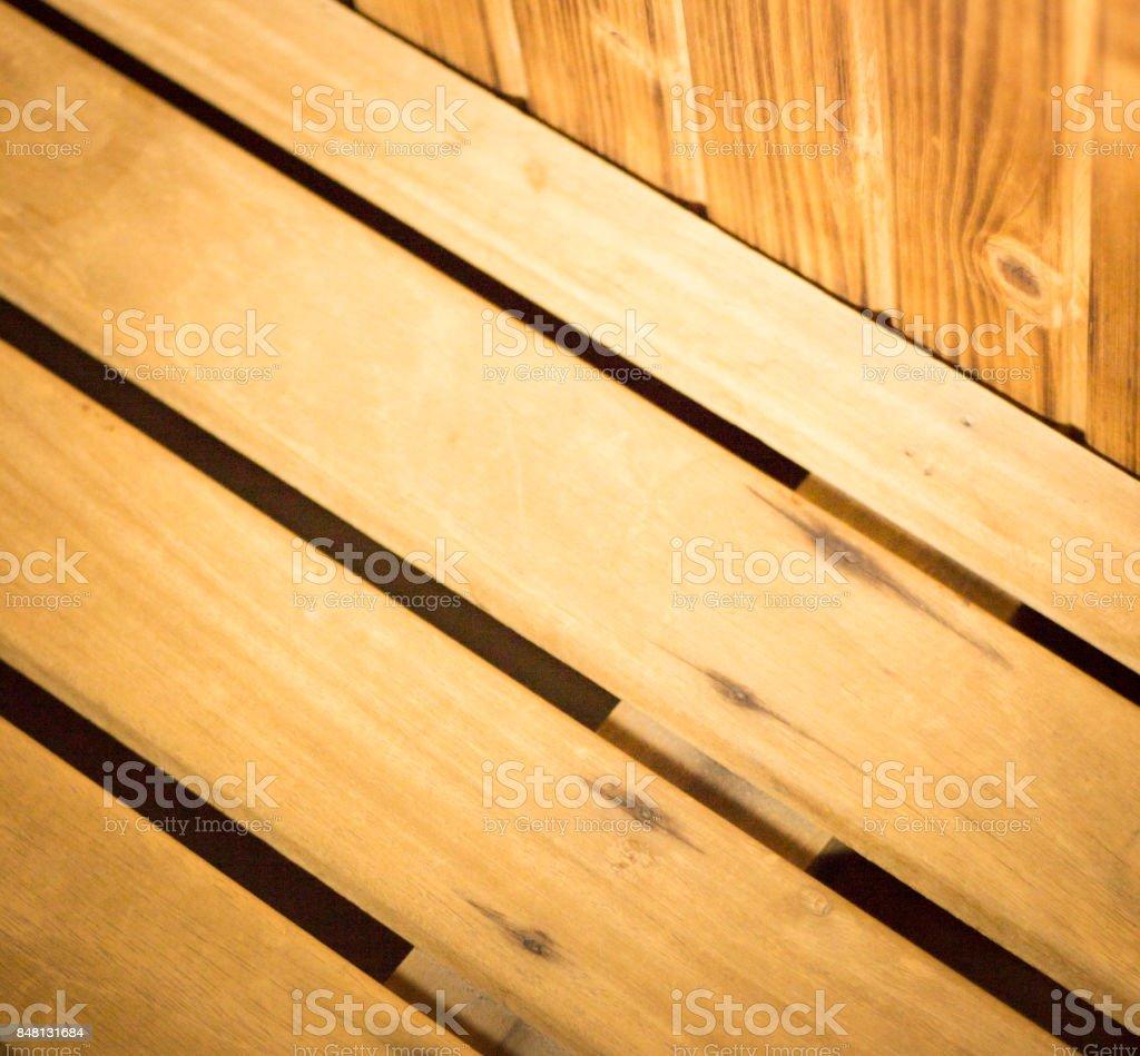 Wooden sauna wood seat photo. stock photo