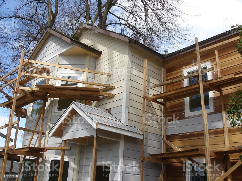 Wooden scaffolding put up drying home construction royalty-free stock photo