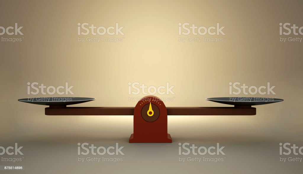 Wooden scale balance is empty. stock photo