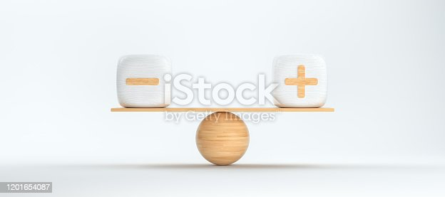 wooden scale balancing cubes with plus and minus symbols in front of white background - 3D rendered illustration