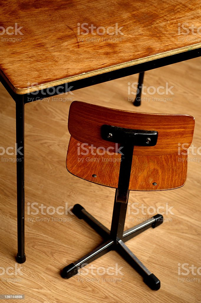 Wooden schooltable and chair royalty-free stock photo