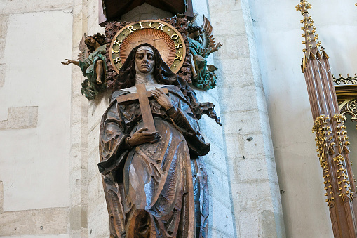 Wooden sculptere of the Saint Rita of Cascia in roman catholic Church of St. Catherine of Alexandria and St. Margaret. The church is situated in the Kazimierz district.