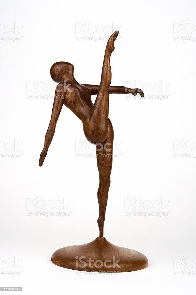 Wooden Sculpture Of A Ballet Dancer stock photo