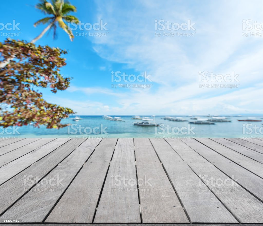 Wooden sea view terrace beside tropical sea royalty-free stock photo