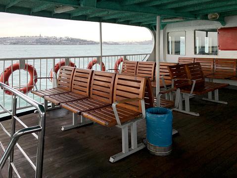 Wooden seats on passenger ship