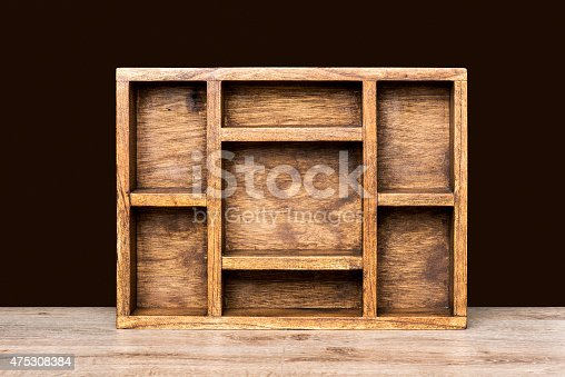 Wooden septate box.