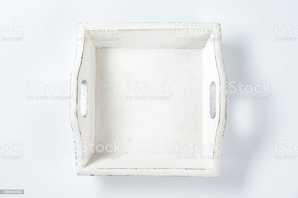 wooden serving tray stock photo