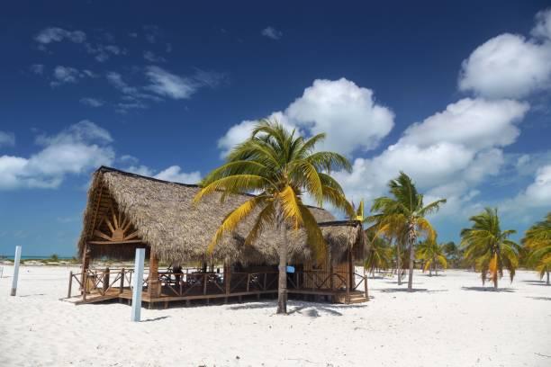 Wooden Shack Bar and Grill Playa Sirena Beach Cayo Largo Del Sur Cuba stock photo