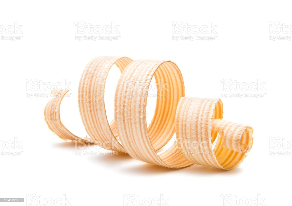wooden shavings isolated stock photo