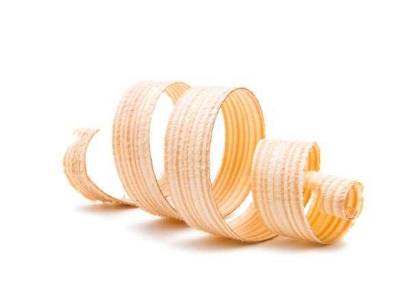 wooden shavings isolated stock photo
