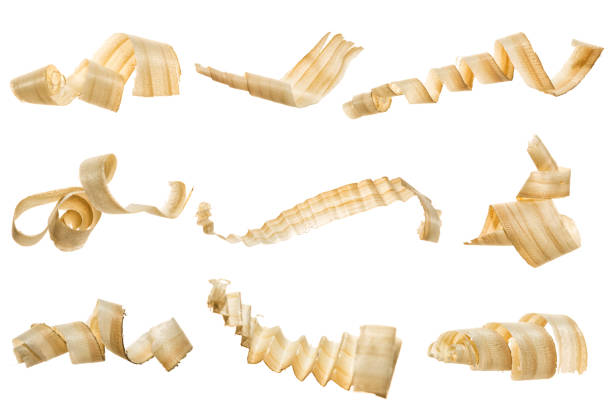 Wooden shavings stock photo
