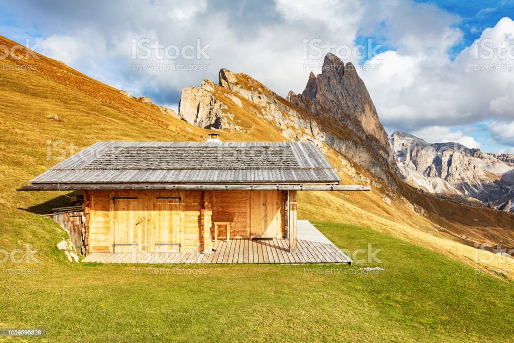 Wooden shed in the Alps stock photo