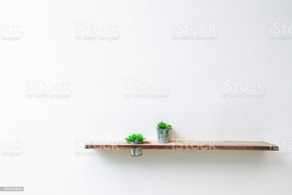 Wooden shelf and green plant on white concrete wall. stock photo