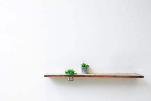 Étagère en bois et une plante verte sur le mur de béton blanc. - Photo