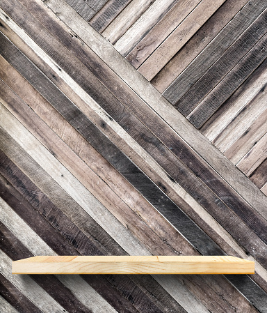 593305530 istock photo wooden shelf on tropical diagonal wood wall,Template mock up 489249598