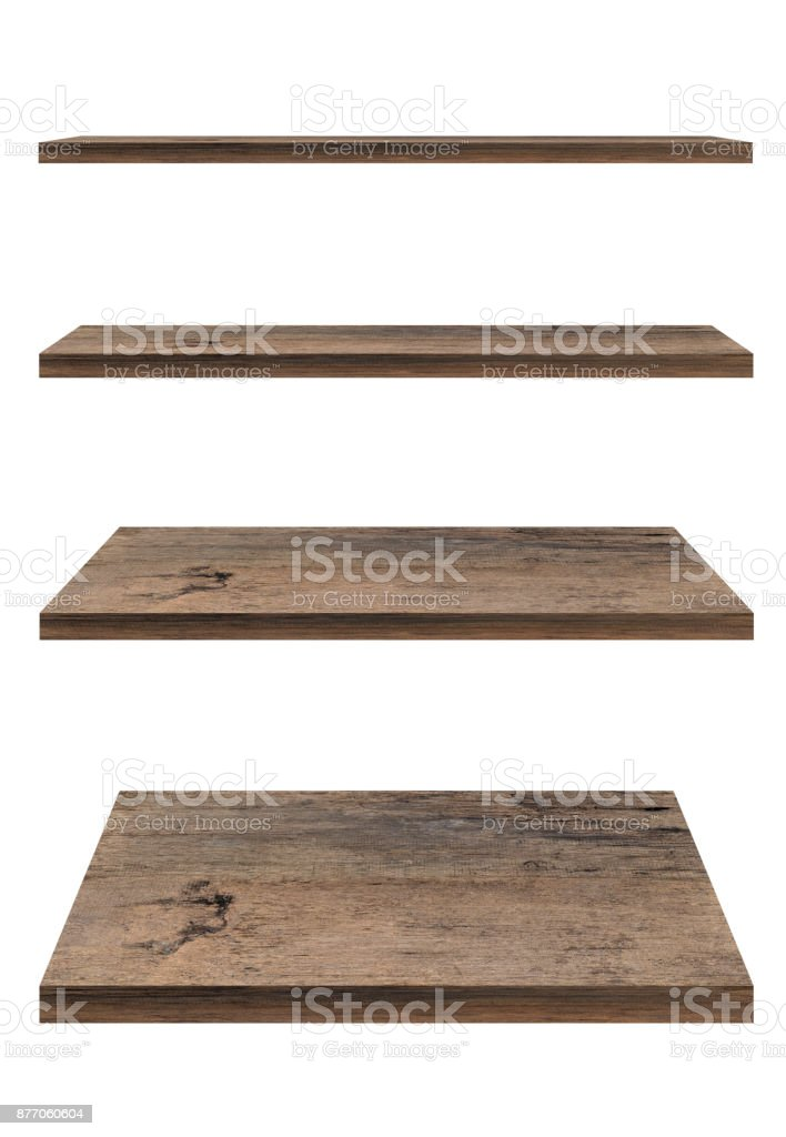 Wooden shelf template set isolated on white background with clipping path. For decorated interior or montage of your product on shelf. stock photo