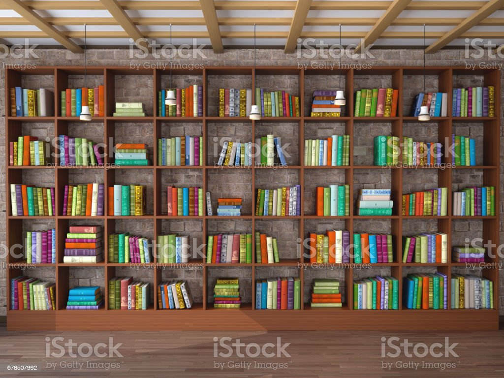 Wooden Shelves In The Room With Different Books Library 3d