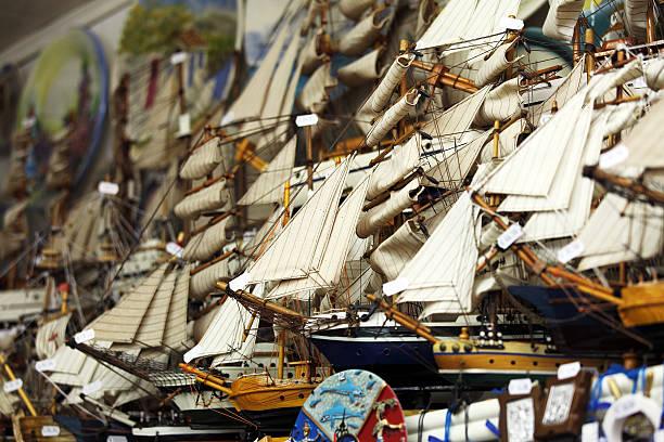 Wooden Ship Models Shop stock photo