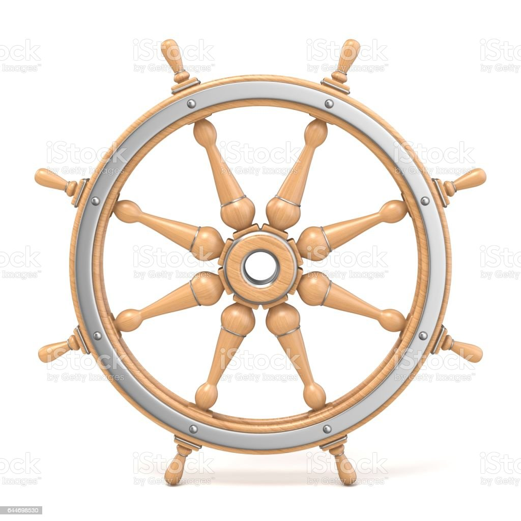 Wooden ship wheel 3D stock photo