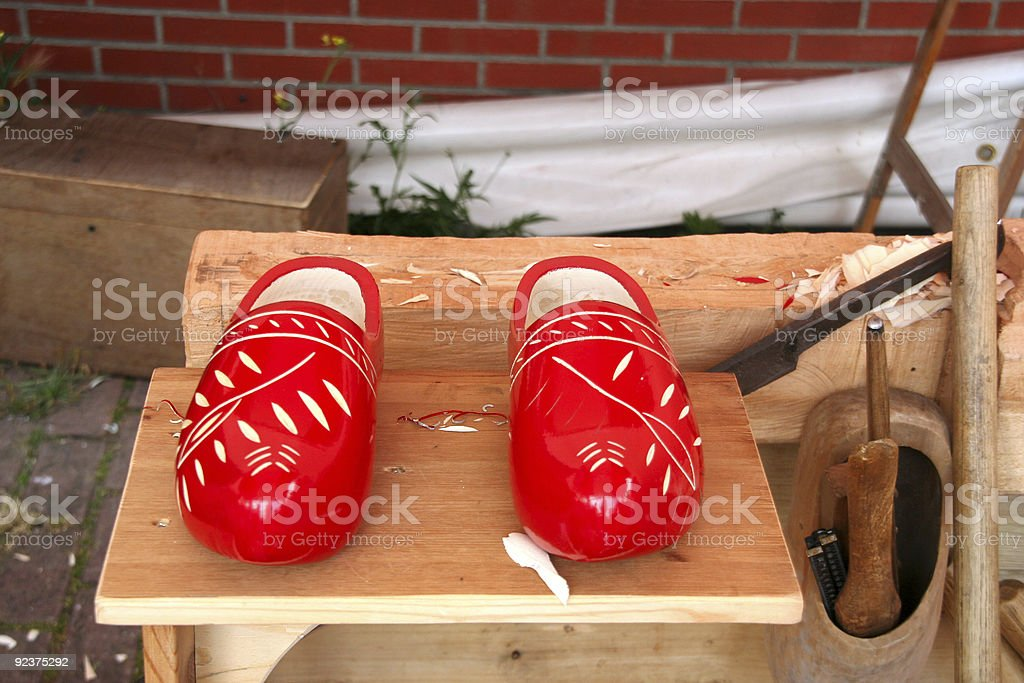 Wooden Shoes and Tools royalty-free stock photo