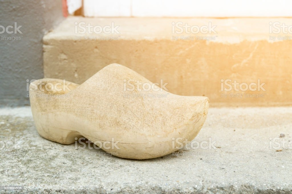 Wooden Shoes carved out of wood stock photo