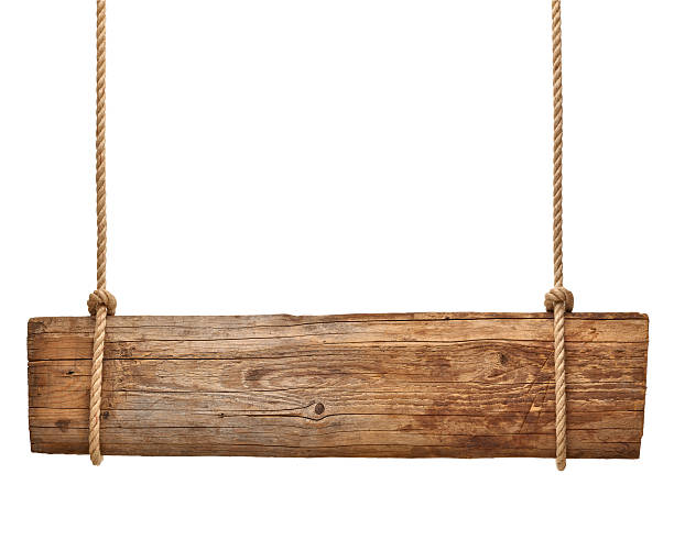wooden sign background message rope chain hanging - wood sign isolated bildbanksfoton och bilder