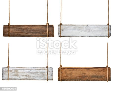 istock wooden sign background message rope chain hanging 686895698