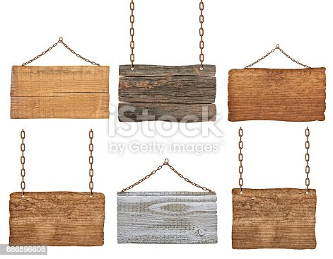 istock wooden sign background message rope chain hanging 686896608