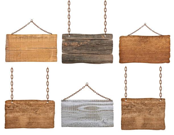 木製の看板背景メッセージロープチェーンぶら下がり ストックフォト