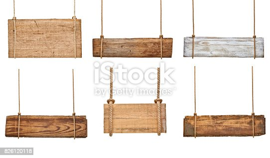 istock wooden sign background message rope chain hanging 826120118