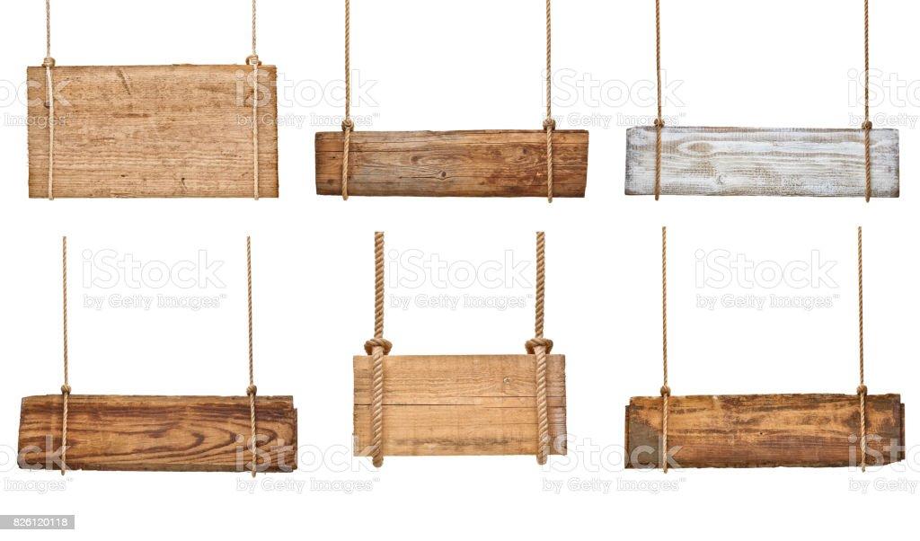 Panneau en bois avec chaîne suspendu le Message de fond en corde - Photo