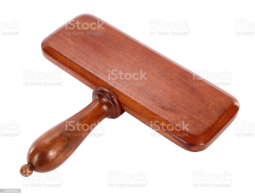 Wooden sign board bid paddle stock photo