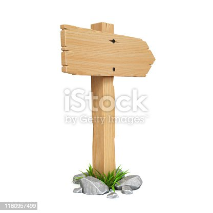 istock Wooden sign board isolated on white background 3d rendering 1180957499