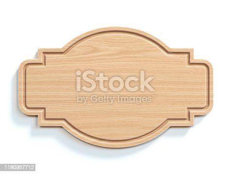 Wooden sign board isolated on white background 3d rendering illustration