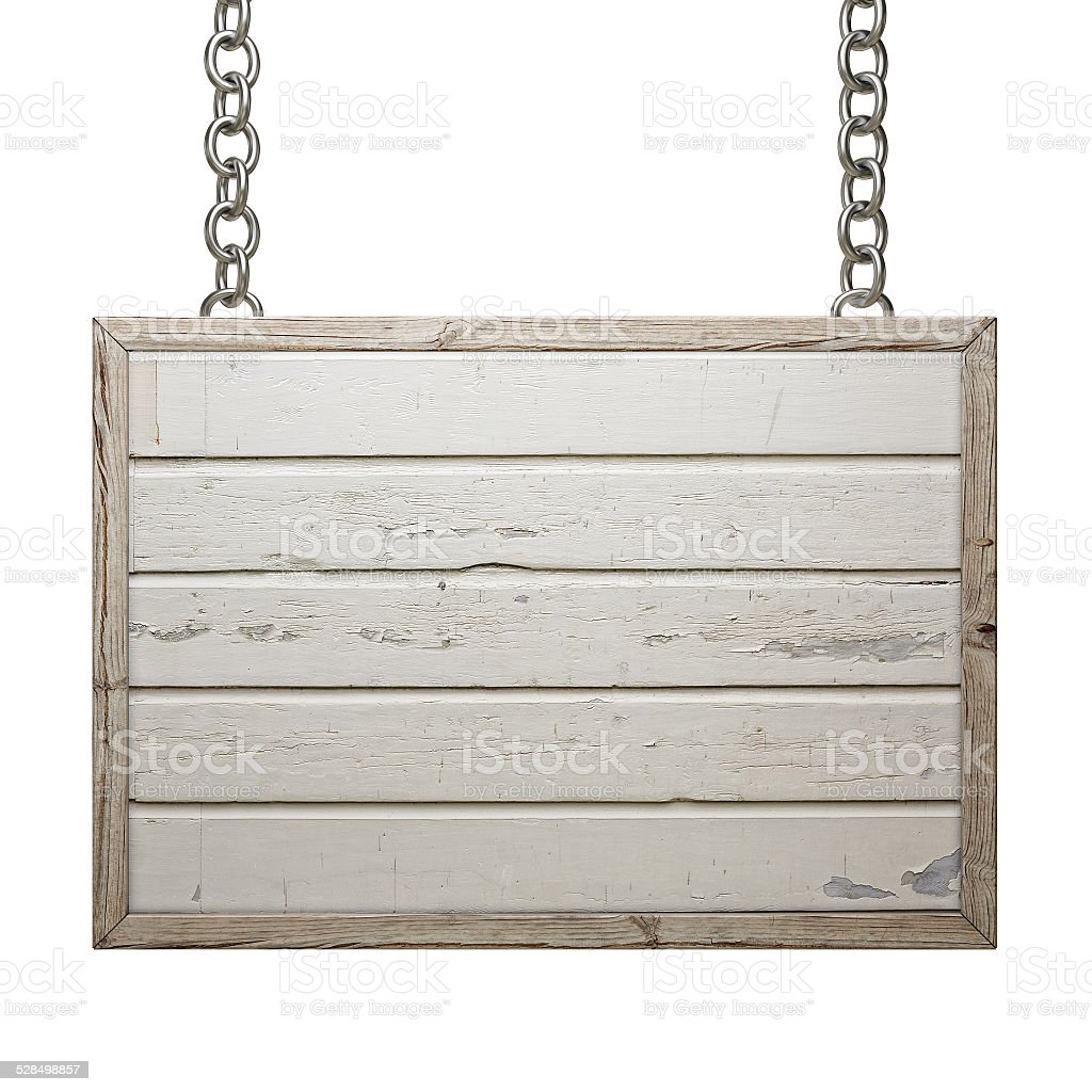 Wooden Sign Board on Chain Isolated on White Background, stock photo