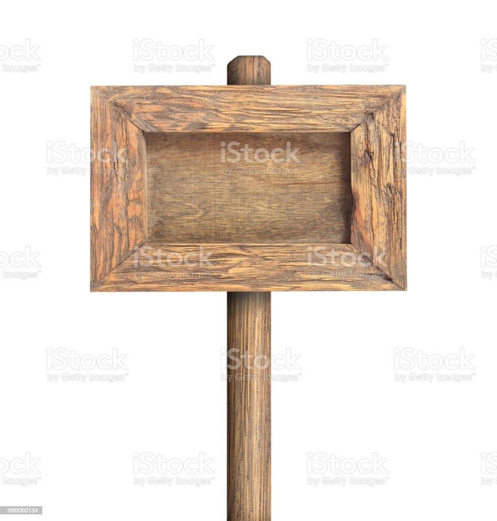Träskylt ram isolerad på vit - Royaltyfri Affischtavla Bildbanksbilder