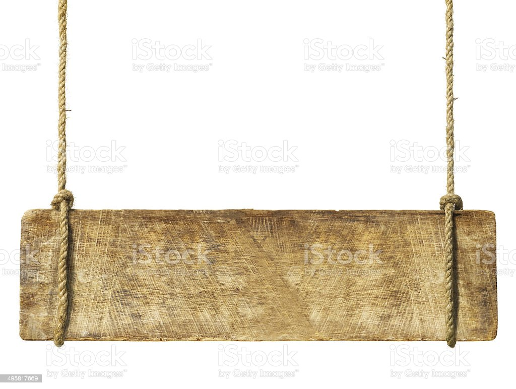Wooden Sign Hanging from Rope stock photo