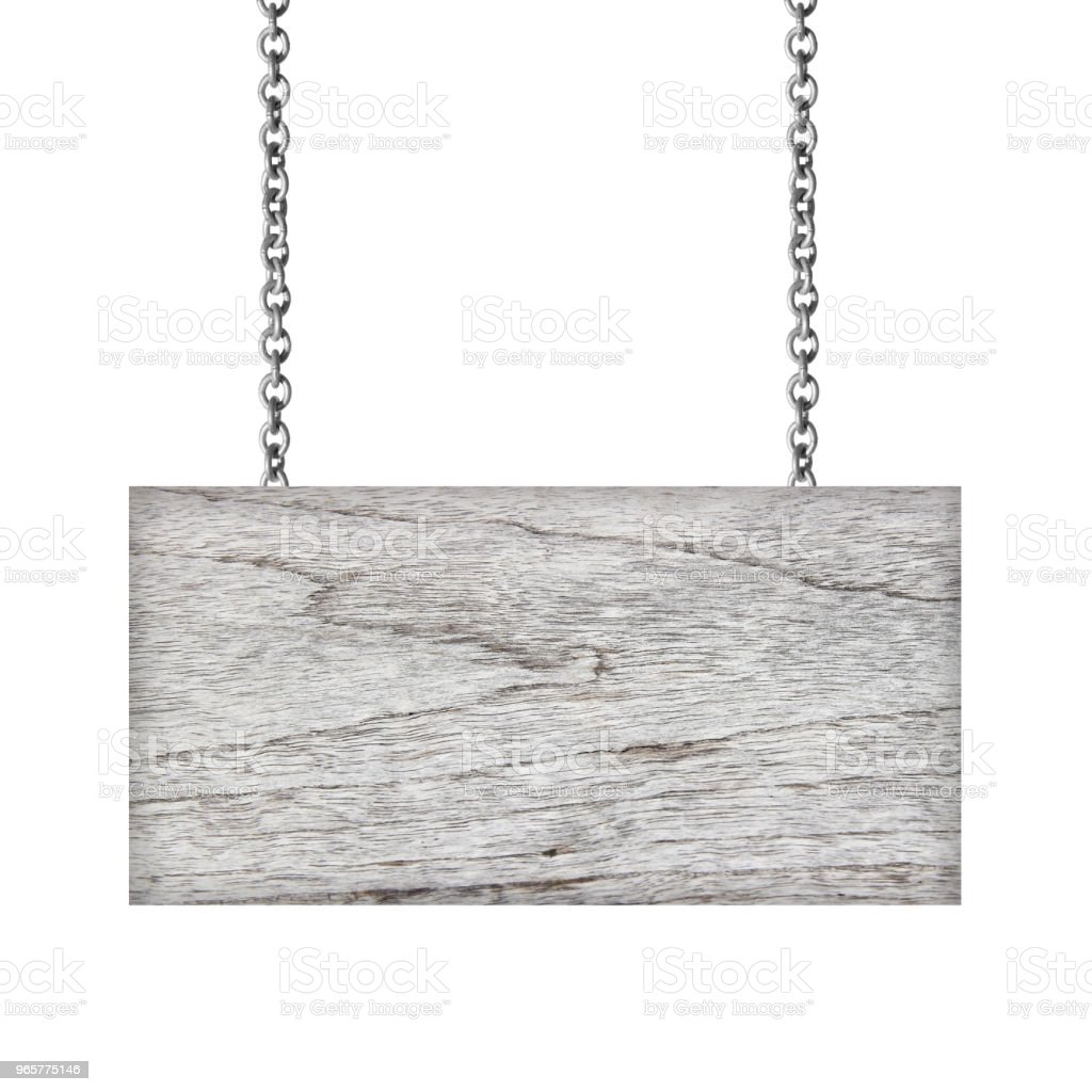 Wooden sign hanging on a chain isolated on white background - Royalty-free Advertisement Stock Photo