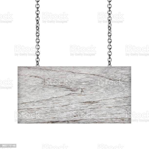 Wooden Sign Hanging On A Chain Isolated On White Background Stock Photo - Download Image Now